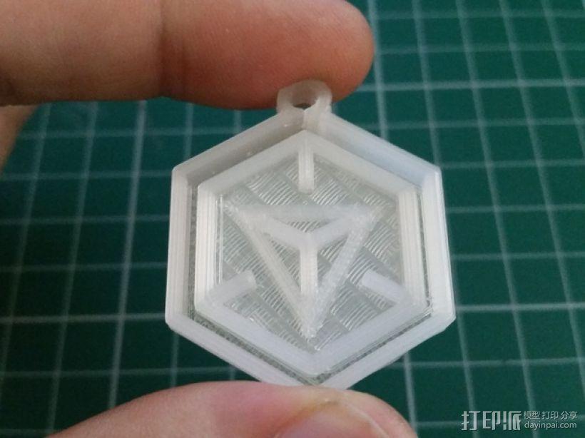 带有游戏《Ingress》标志的钥匙扣 3D模型  图1