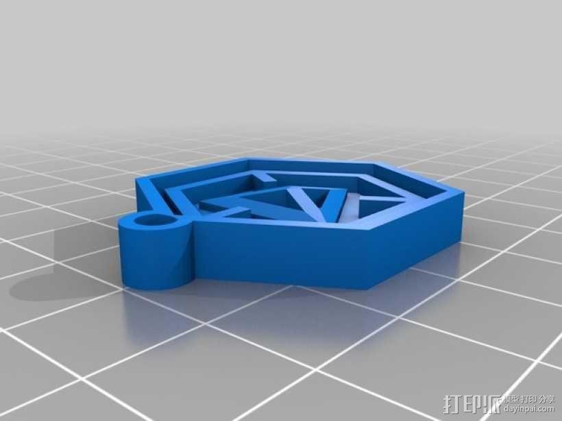 带有游戏《Ingress》标志的钥匙扣 3D模型  图2