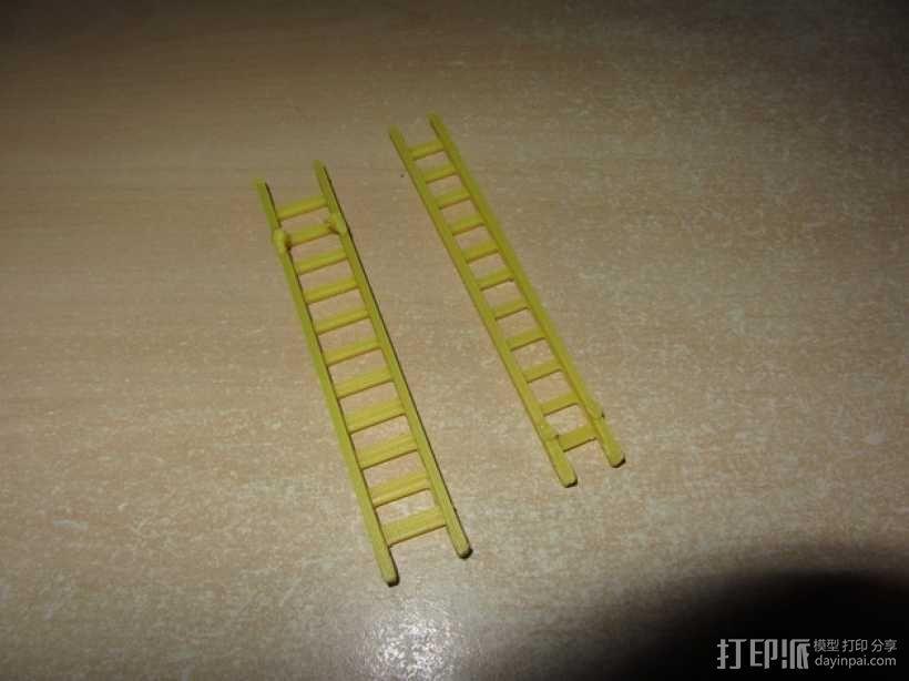 参照乐高积木玩具的消防车梯 3D模型  图1