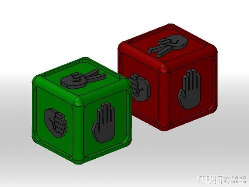"""带有""""石头剪刀布""""标志的骰子 3D模型  图1"""