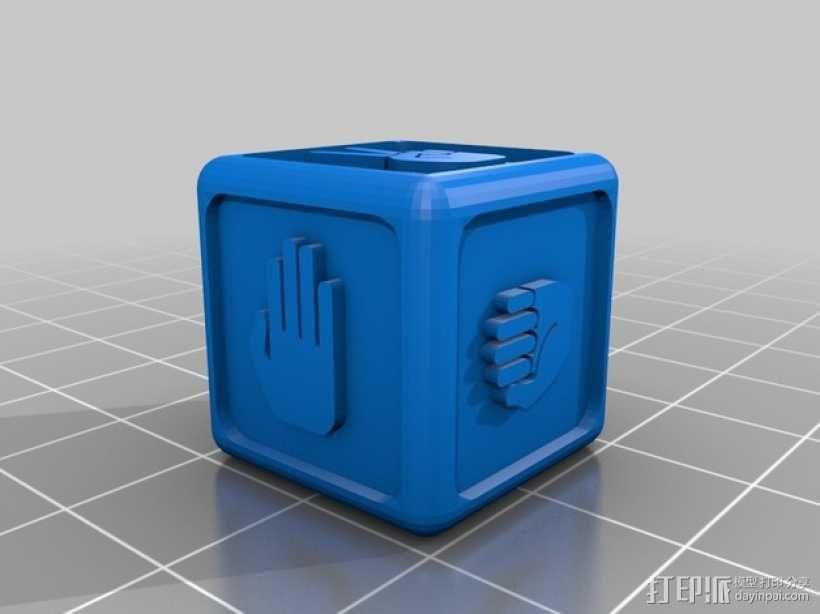 """带有""""石头剪刀布""""标志的骰子 3D模型  图3"""