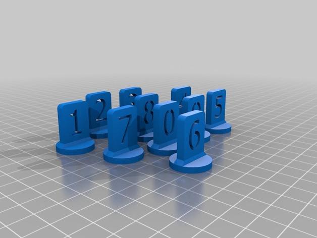 带有数字编号的棋子 3D模型  图15