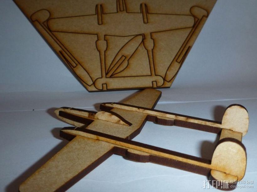 P38闪电战斗机模型 3D模型  图1