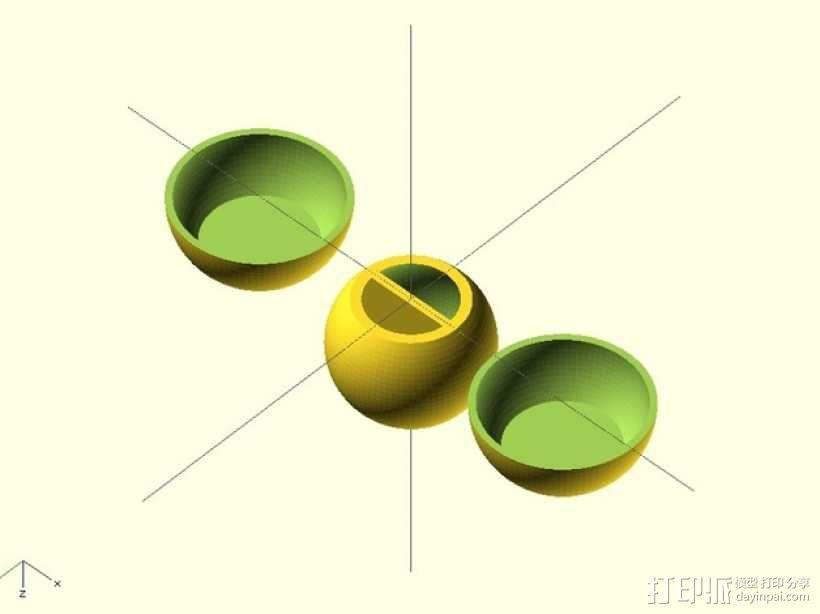 可定制的外心球模型 3D模型  图1