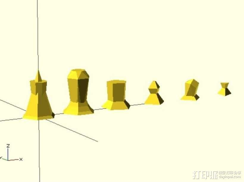 抽象化的象棋棋子 3D模型  图1