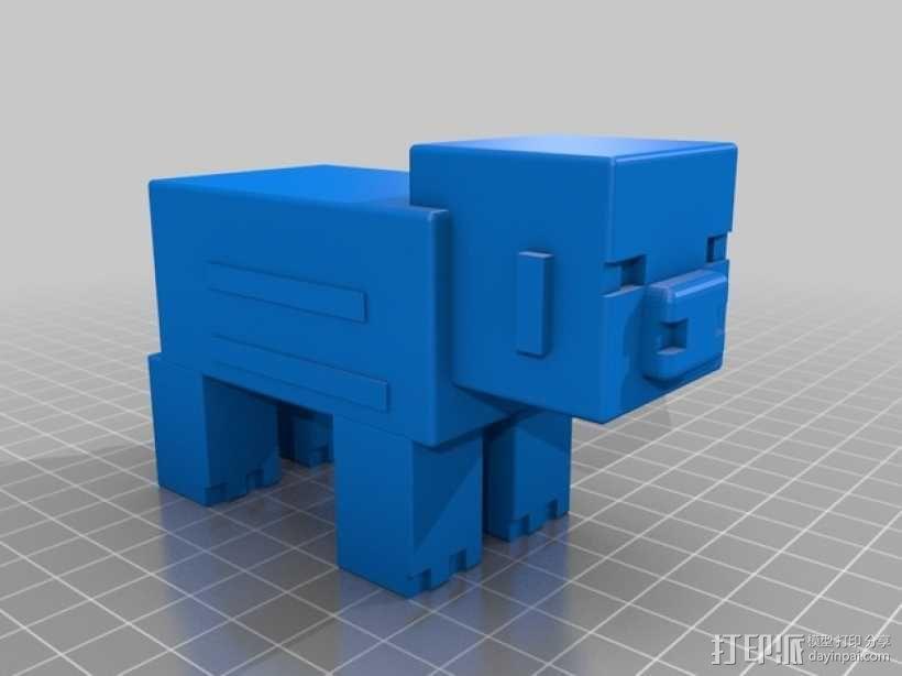 游戏《Minecraft》中小猪玩偶模型 3D模型  图1