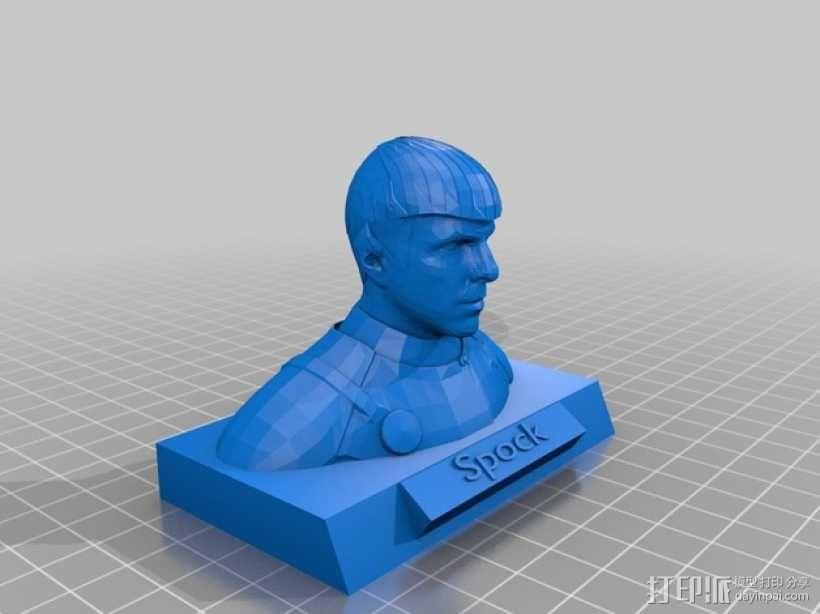 斯波克半身像 3D模型  图1