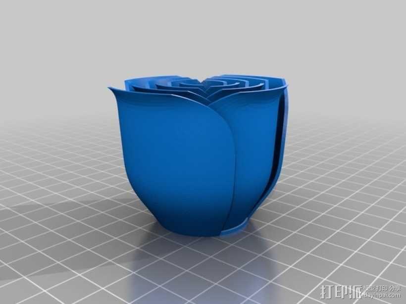 红色玫瑰花 3D模型  图3