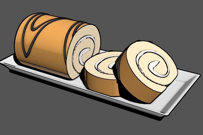 夹心蛋糕卷 3D模型  图2