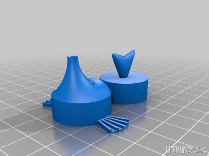 吹泡泡的软木鱼 3D模型  图2