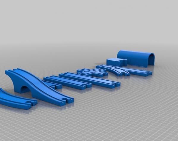 火车轨道 3D模型  图1