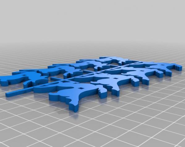 圣诞老人雪橇和8只小麋鹿 3D模型  图3