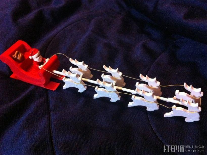 圣诞老人雪橇和8只小麋鹿 3D模型  图8