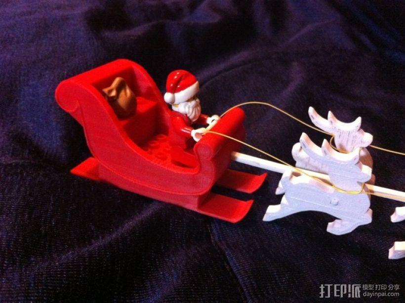 圣诞老人雪橇和8只小麋鹿 3D模型  图9