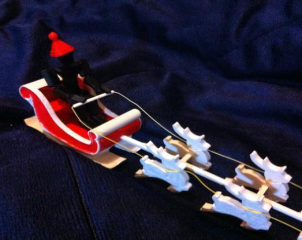 圣诞老人雪橇和8只小麋鹿 3D模型  图11