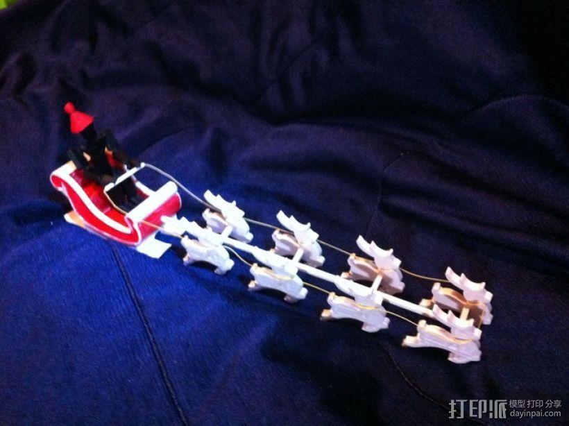 圣诞老人雪橇和8只小麋鹿 3D模型  图10