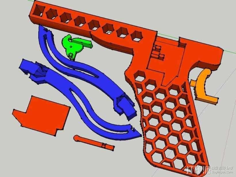 皮筋驱动十字弓 3D模型  图4