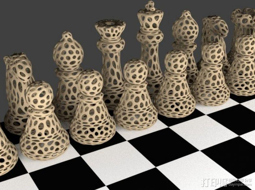 Voronoi风格象棋 3D模型  图1