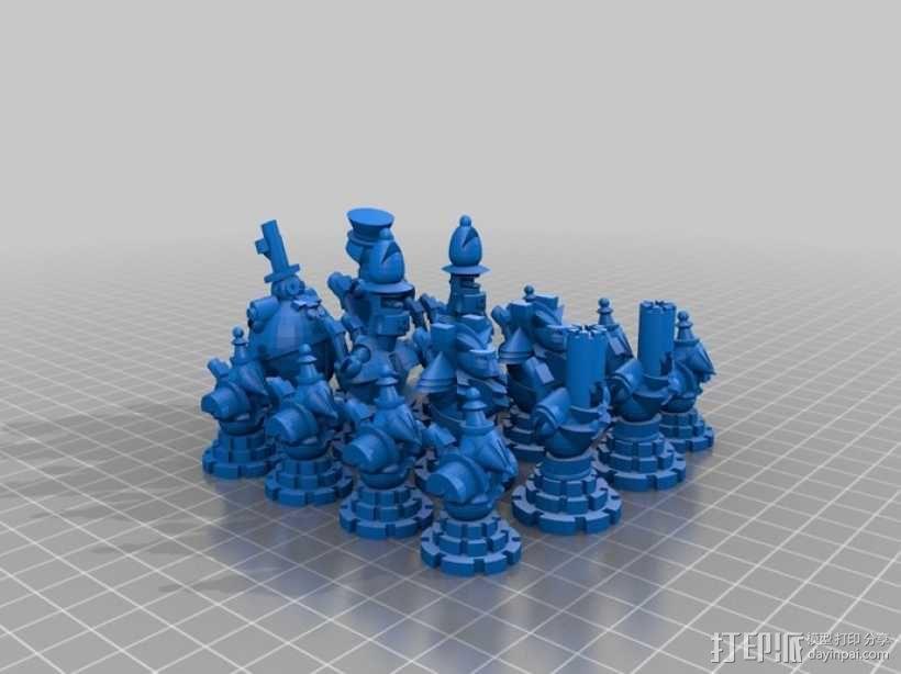朋克风机器人棋子 3D模型  图2