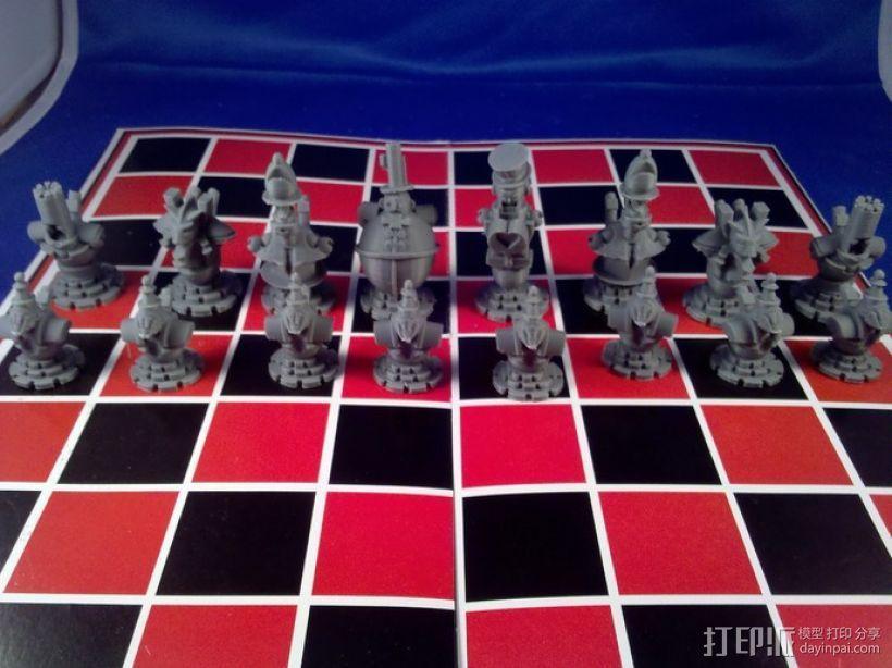 朋克风机器人棋子 3D模型  图1