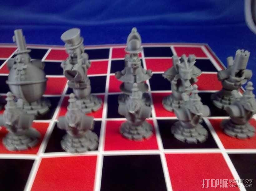 朋克风机器人棋子 3D模型  图3