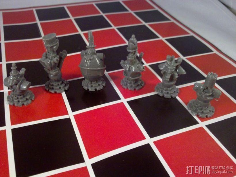 朋克风机器人棋子 3D模型  图4