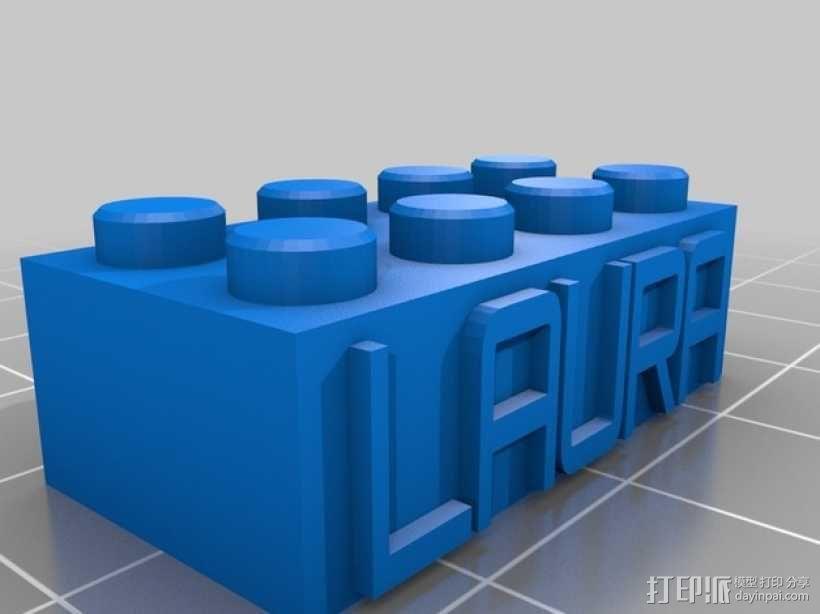 乐高积木项链/钥匙链 3D模型  图4