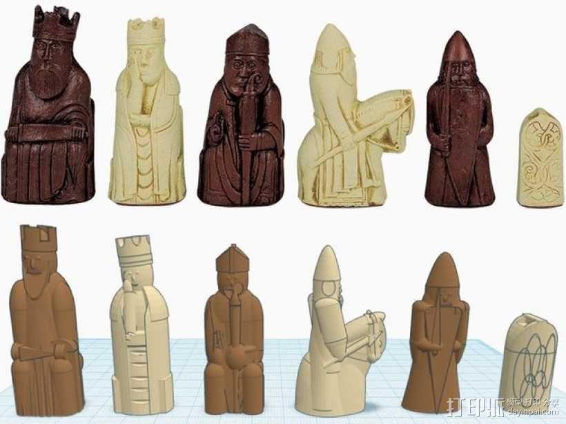 路易斯岛象棋 3D模型  图1