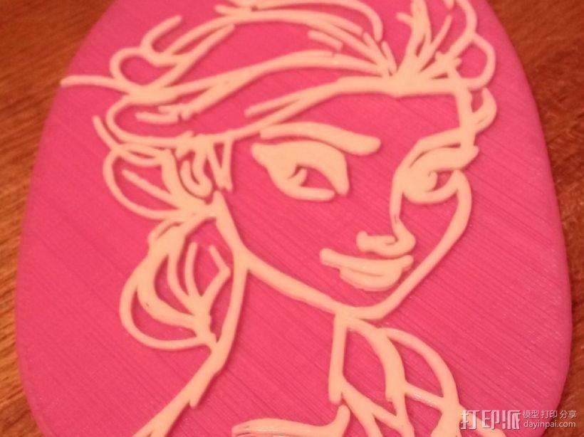 艾尔莎背包徽章 3D模型  图2