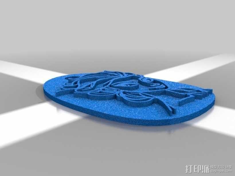 艾尔莎背包徽章 3D模型  图3