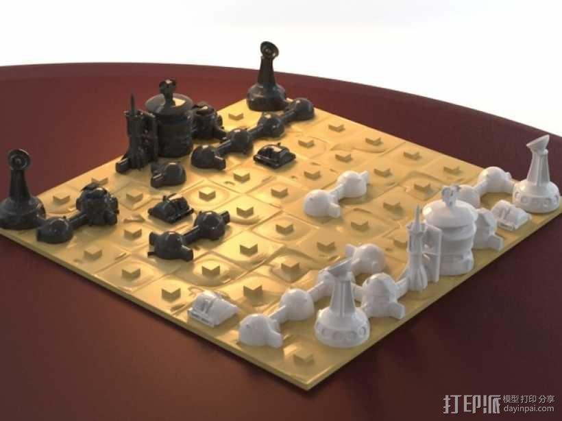火星基地象棋 3D模型  图1