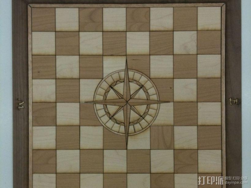 嵌有罗盘刻度盘的象棋棋盘 3D模型  图1