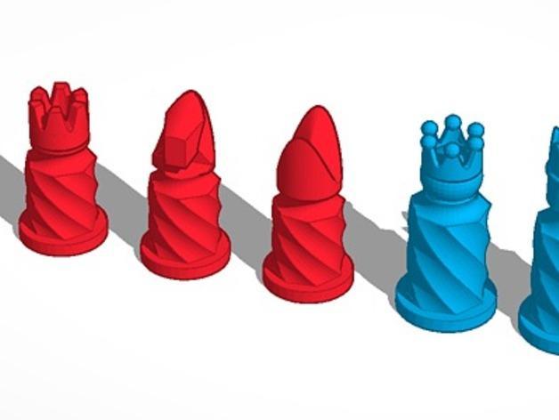 圆柱形象棋套件 3D模型  图2