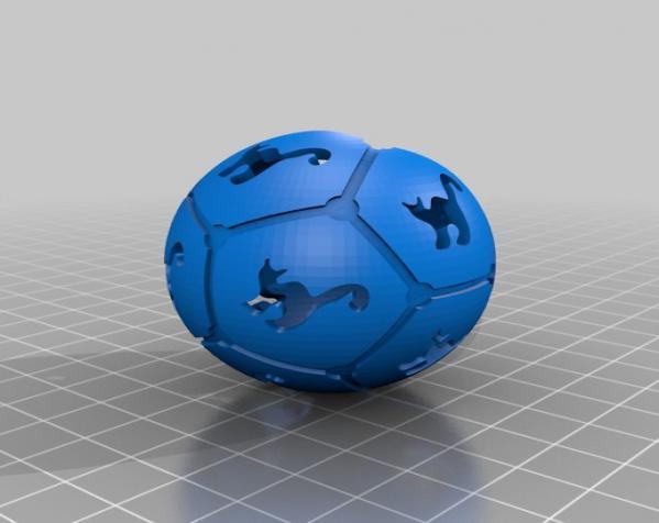 猫形镂空球体 3D模型  图2