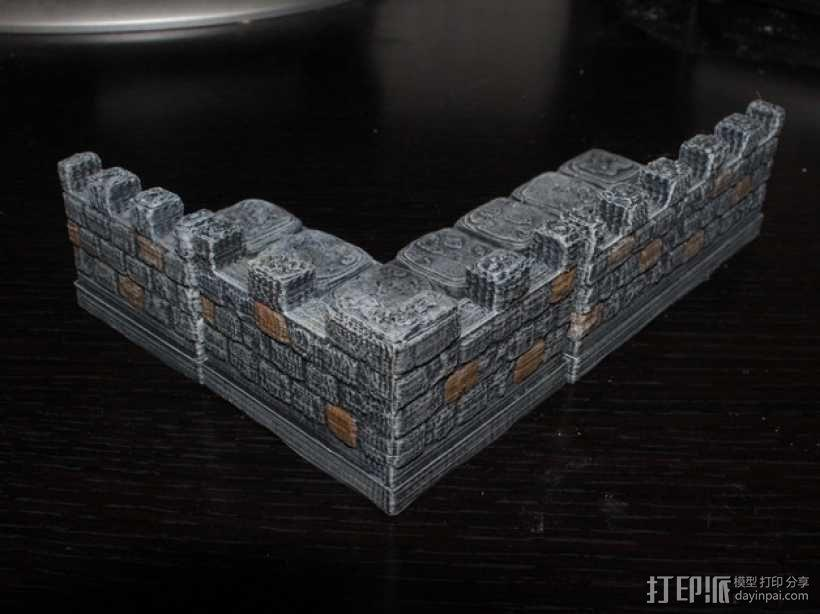 OpenForge带有炮眼的墙壁 3D模型  图1