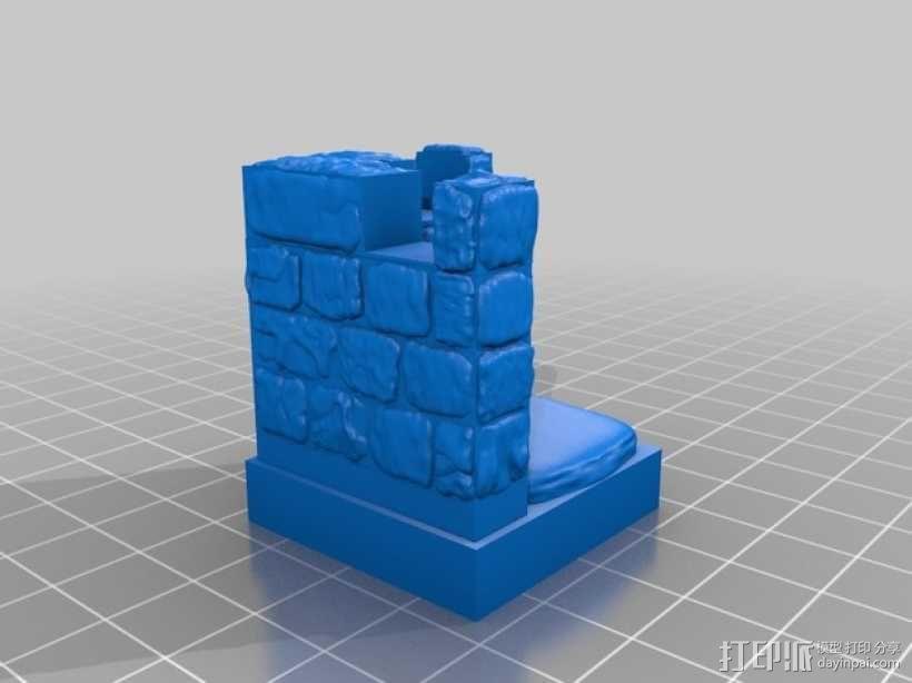 OpenForge带有炮眼的墙壁 3D模型  图4