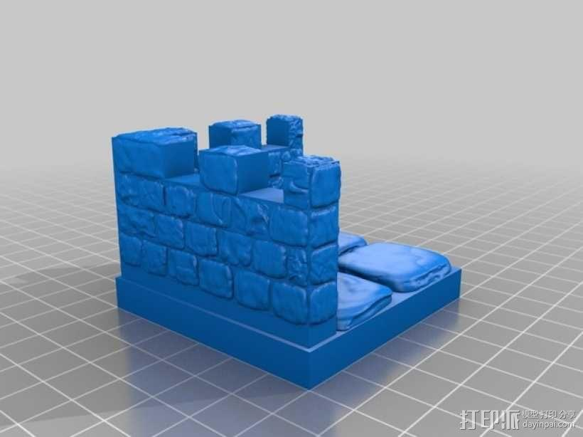 OpenForge带有炮眼的墙壁 3D模型  图5