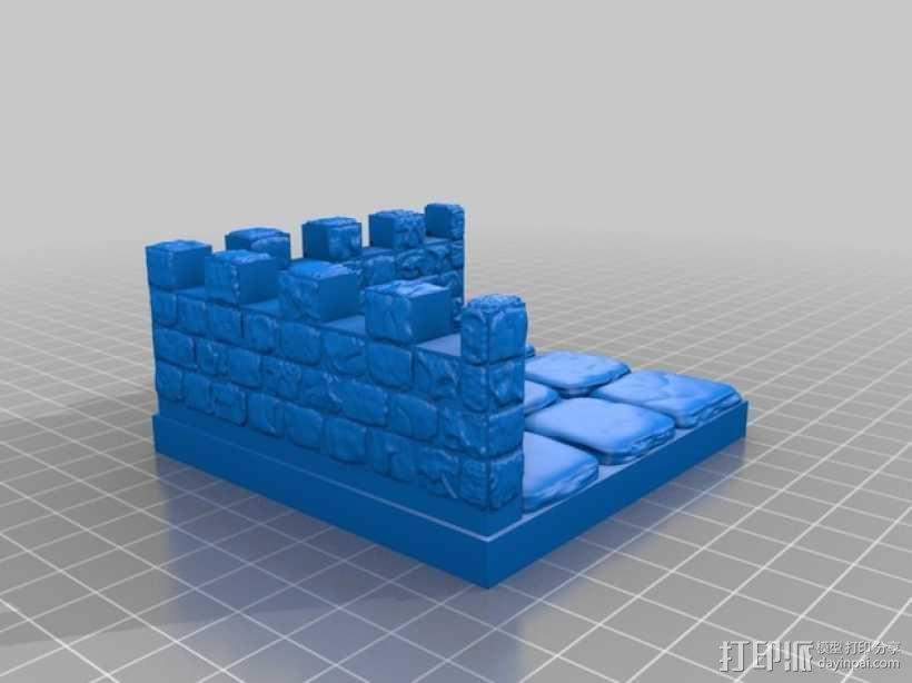 OpenForge带有炮眼的墙壁 3D模型  图6
