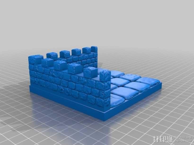 OpenForge带有炮眼的墙壁 3D模型  图7