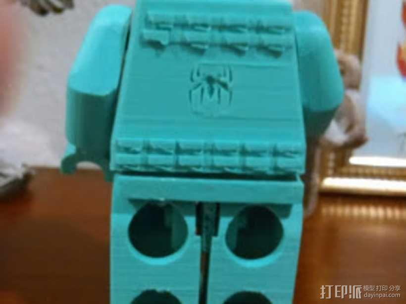 蜘蛛侠标志的乐高玩具 3D模型  图3