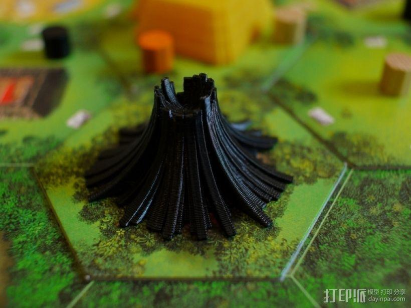 程式化火山模型 3D模型  图1