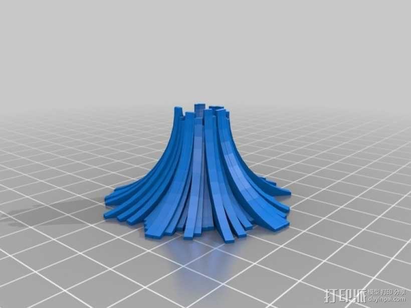 程式化火山模型 3D模型  图2