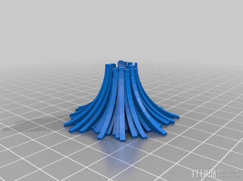 程式化火山模型 3D模型  图3