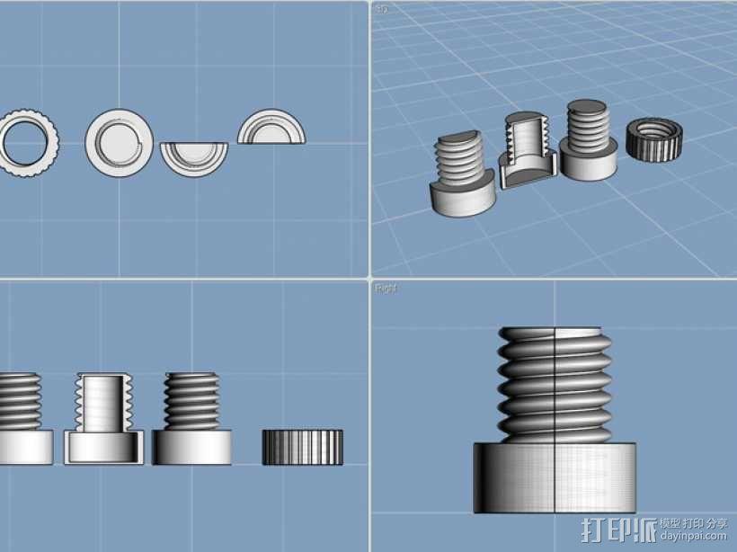 螺母和空心螺丝 3D模型  图1
