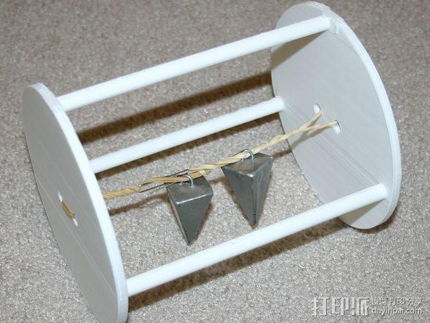 两轮橡皮筋驱动工具 3D模型  图1