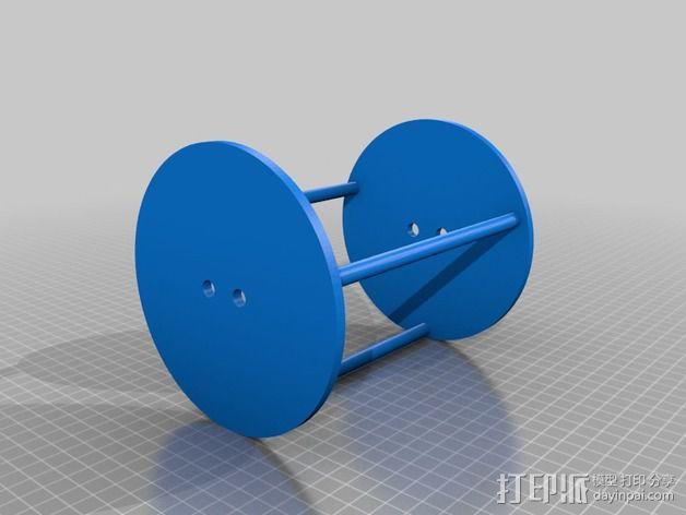 两轮橡皮筋驱动工具 3D模型  图2