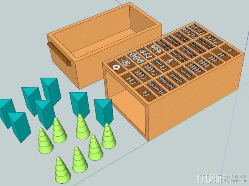 塞尼特棋游戏套件 3D模型  图1