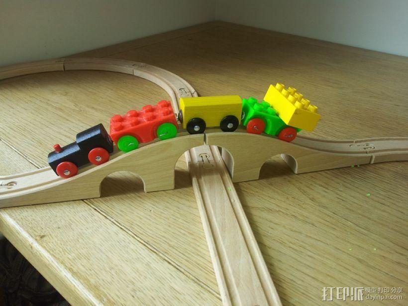 方块拼成的玩具火车 3D模型  图1
