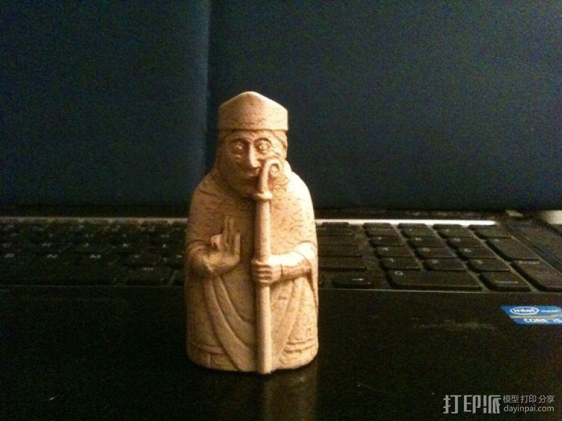 路易斯岛棋子:主教 3D模型  图1
