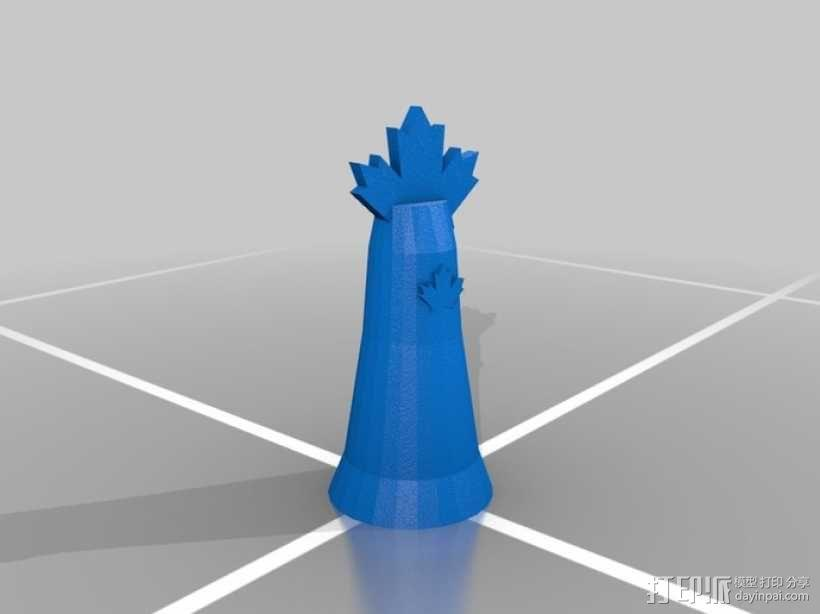 枫叶形象棋套件 3D模型  图4
